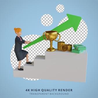 Biznesowe kobiety wspinają się po drabinie, aby wygrać nagrody postaci ilustracja postaci 3d