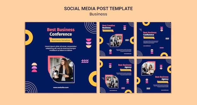 Biznesowe posty na instagramie z kolorowymi kształtami