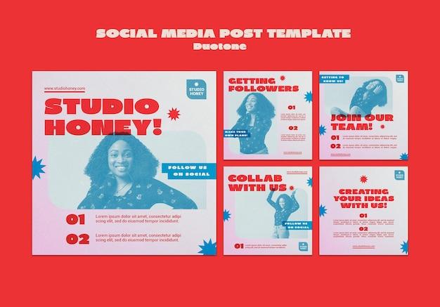 Biznesowe posty w mediach społecznościowych duotone