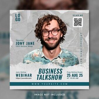 Biznesowe seminarium internetowe na żywo z marketingu cyfrowego i szablon postu w mediach społecznościowych