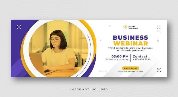 Biznesowe webinarium okładka w mediach społecznościowych i baner internetowy