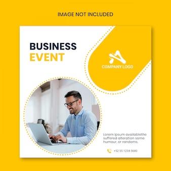 Biznesowe wydarzenie żółty baner społecznościowy