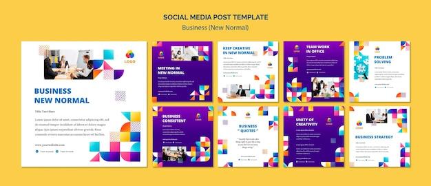 Biznesowy nowy normalny post w mediach społecznościowych