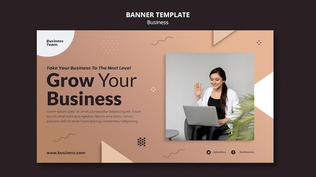 Biznesowy poziomy baner szablon