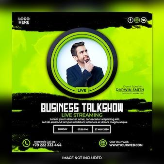 Biznesowy talk show na żywo i szablon postów w mediach społecznościowych