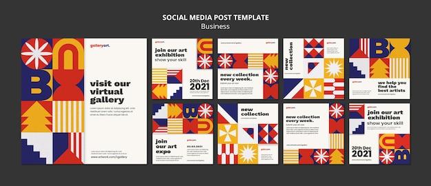 Biznesowy zestaw postów w mediach społecznościowych