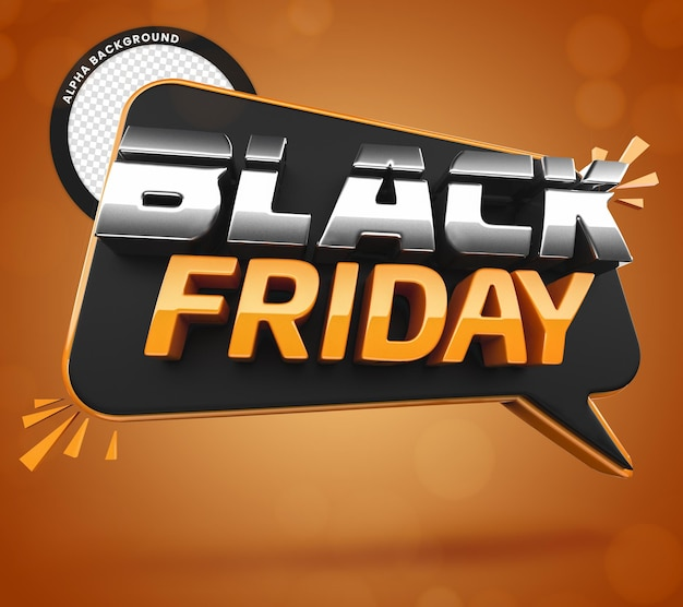 Black friday 3d do pomarańczowej i czarnej kompozycji