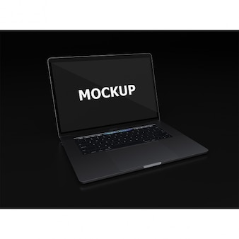 Black laptop makieta widok ukośny
