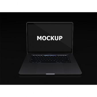 Black laptop przedni widok makieta