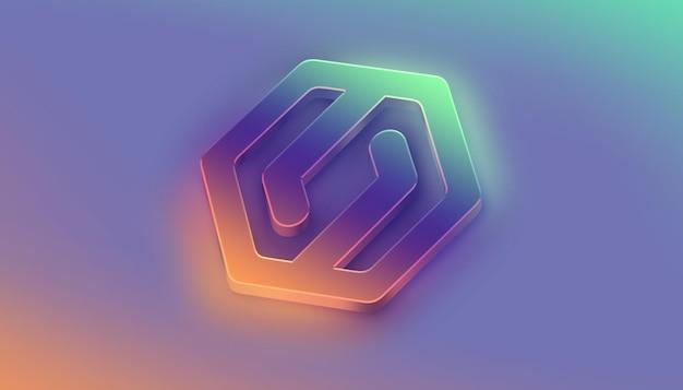 Bliska makieta logo przepływu 3d