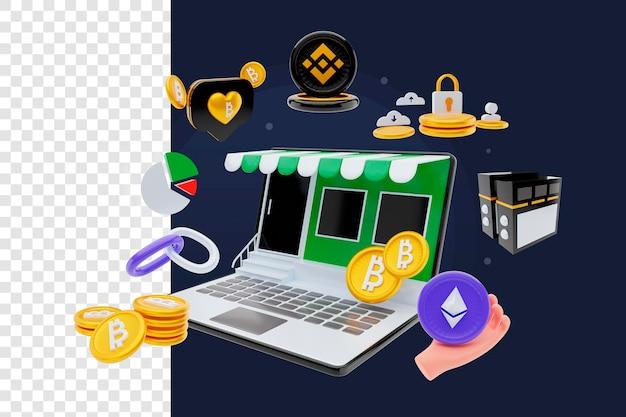 Blockchain renderowania 3d z laptopem i zestawem obiektów