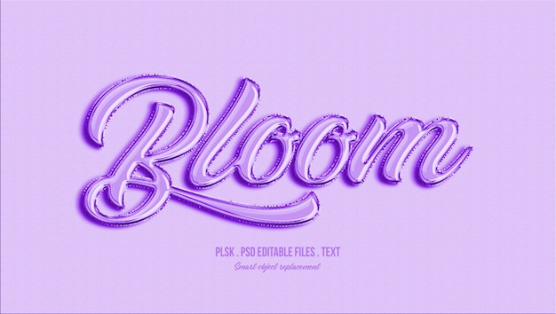 Bloom efekt stylu tekstu 3d