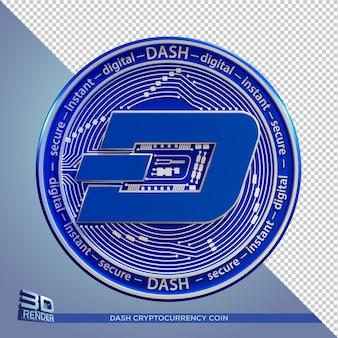 Blue coin dash kryptowaluta renderowania 3d na białym tle