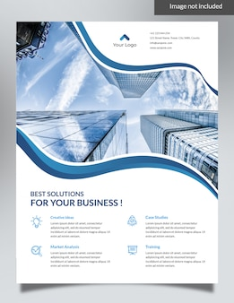 Blue corporate flyer - projekt tła fal