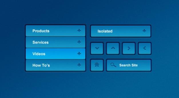 Blue nawigacji menu ui kit