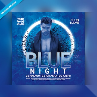 Blue night party flyer