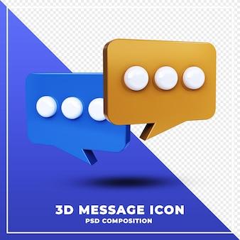 Błyszcząca wiadomość czat ikona na białym tle renderowania 3d projektowania