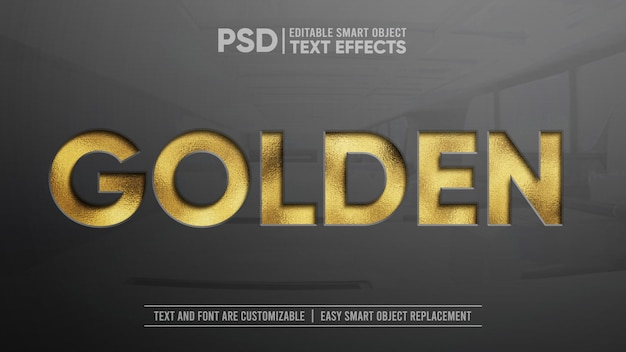 Błyszcząca złota makieta edytowalny efekt tekstowy