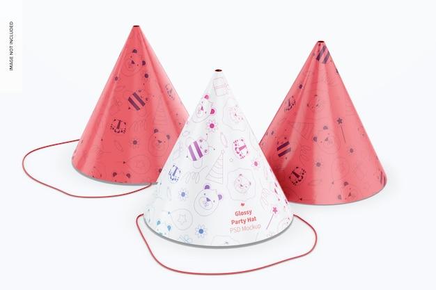 Błyszczące czapki imprezowe makieta, widok z przodu