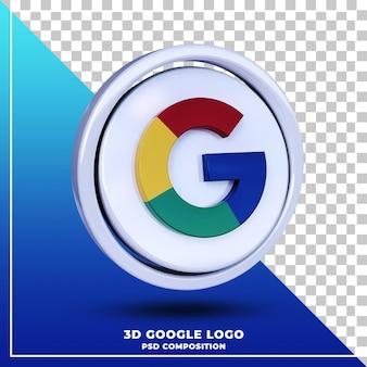 Błyszczące logo google na białym tle renderowania projektu 3d