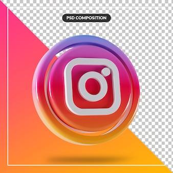 Błyszczące logo instagram na białym tle projekt 3d
