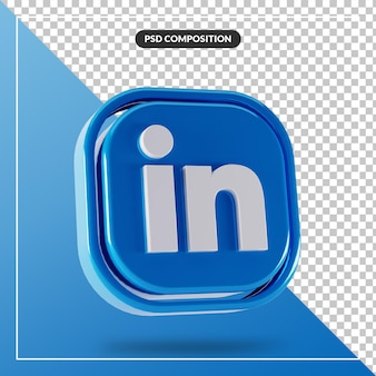 Błyszczące logo linkedin na białym tle projekt 3d