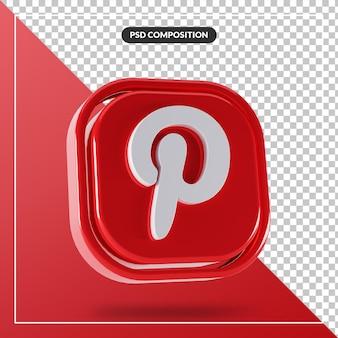 Błyszczące logo pinterest na białym tle projekt 3d
