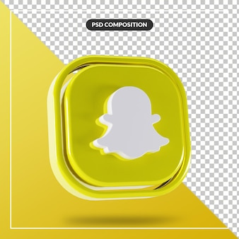 Błyszczące logo snapchat na białym tle projekt 3d