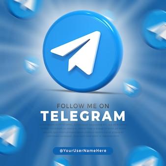 Błyszczące logo telegramu i szablon postu w mediach społecznościowych