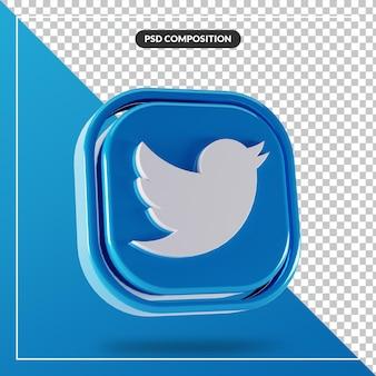 Błyszczące logo twitter na białym tle projekt 3d