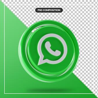 Błyszczące logo whatsapp na białym tle projekt 3d