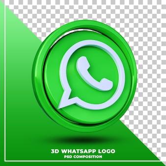 Błyszczące logo whatsapp na białym tle renderowania projektu 3d