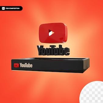 Błyszczące logo youtube na białym tle projekt 3d