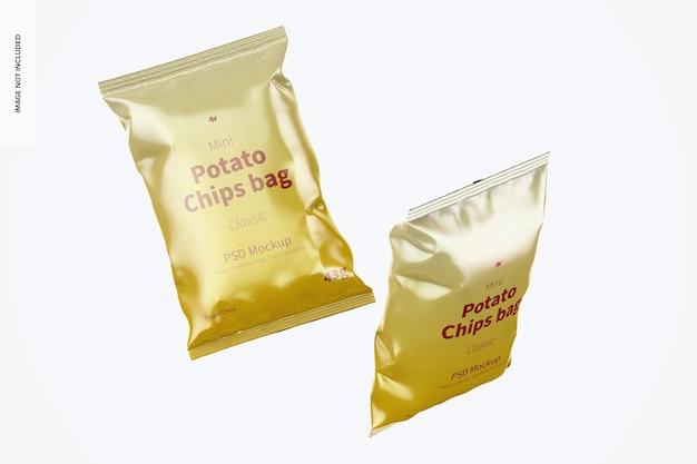Błyszczące mini torebki ziemniaczane makieta