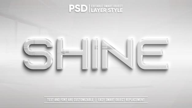 Błyszczący biały metaliczny edytowalny styl warstwy efekt tekstowy obiektu inteligentnego