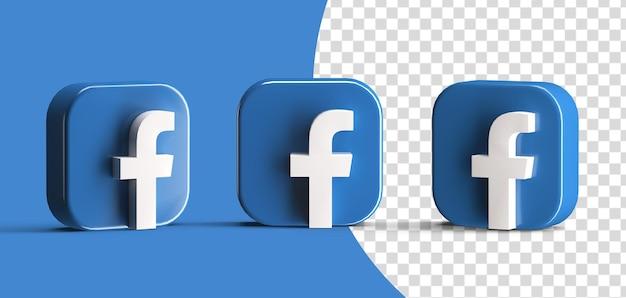 Błyszczący facebook ikona logo mediów społecznościowych zestaw renderowania 3d na białym tle