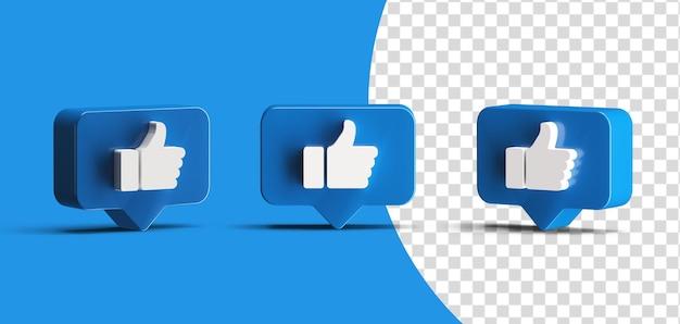 Błyszczący kciuk w górę ikona logo mediów społecznościowych zestaw renderowania 3d na białym tle