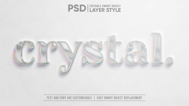 Błyszczący kryształowy klejnot przezroczysty realistyczny 3d edytowalny styl warstwy efekt tekstowy inteligentnego obiektu