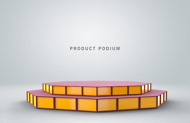 Błyszczący metalowy cokół produktu z sześciokątem w kolorze czerwonym i żółtym