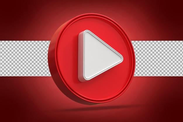 Błyszczący przycisk odtwarzania mediów społecznościowych ikona logo renderowania 3d