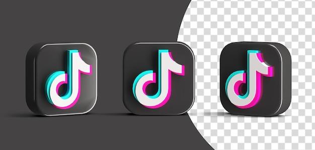 Błyszczący przycisk tiktok zestaw ikon logo mediów społecznościowych 3d render twórca sceny na białym tle