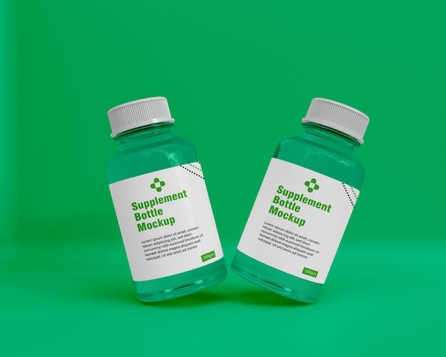 Błyszczący suplement makieta butelki leku 3d