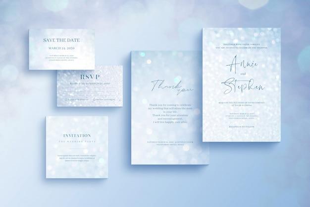 Błyszczący szablon zaproszenia, zestaw papeterii ślubnej