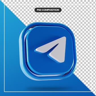 Błyszczący telegram logo na białym tle projekt 3d