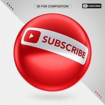 Boczna czerwona elipsa 3d na youtube subskrybuj kompozycję