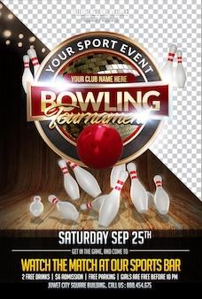 Bowling 3d kompozycja renderowania izolowana warstwa