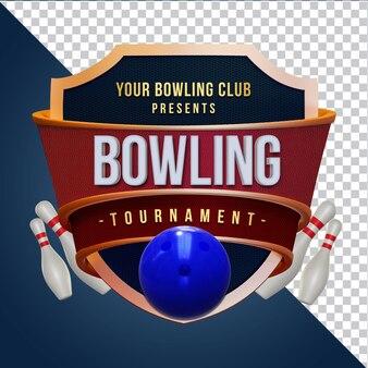 Bowling cup kompozycja renderowania 3d izolowana warstwa