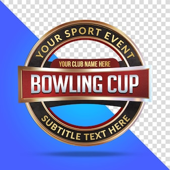 Bowling cup makieta renderowania 3d na białym tle
