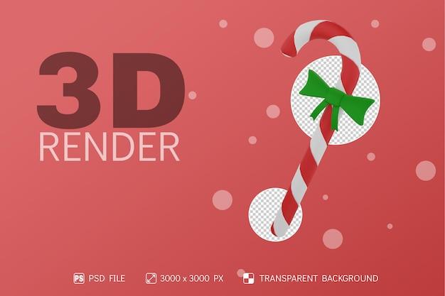 Boże narodzenie candy renderowania 3d z izolowanym tle