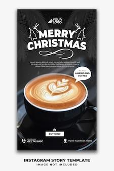 Boże narodzenie instagram stories szablon dla menu restauracji jedzenie kawy